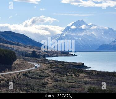 Looking toward Aoraki/Mt Cook from Lake Pukaki, New Zealand.