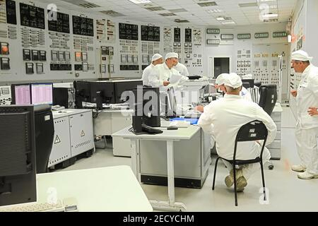 St. Petersburg, Russia - June 23, 2019: Control panel of the Leningrad Nuclear Power Plant. - Stock Photo