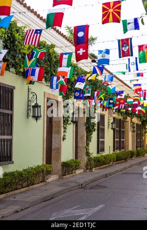 View at flags of the world in 29th street at Getsemani in Cartagena, Colombia - Stock Photo