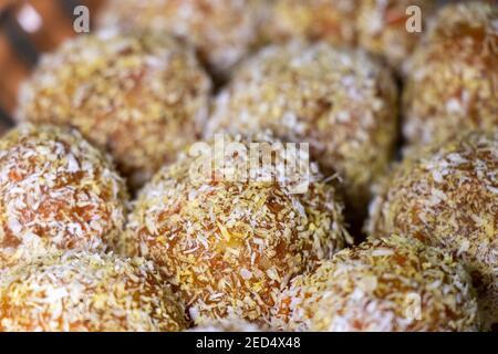 Traditional Turkish Carrot Delight Cezerye, selective focus. Sweet balls