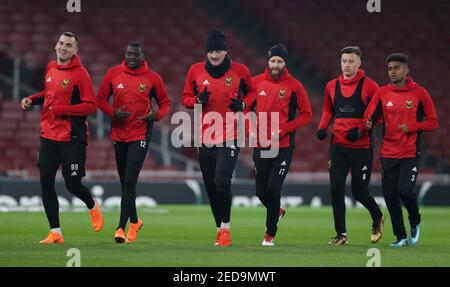 Soccer Football - Europa League - Ostersunds FK Training - Emirates Stadium, London, Britain - February 21, 2018   Ostersunds FK players during training   Action Images via Reuters/Peter Cziborra - Stock Photo