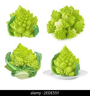 Set of Romanesco broccoli or Roman cauliflower isolated on white background. - Stock Photo