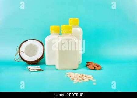 Various vegan plant based milk and ingredients, non-dairy milk - Stock Photo