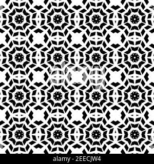 Abstract geometric swirl hypnotize seamless pattern with black ormament on white background. Template design for web page, textures, card, poster