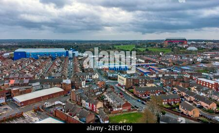 A general view of Goodison Park, home of Everton Football Club with Anfield, home of Liverpool Football Club (right) in the distance. Issue date: Tuesday February 16, 2021. - Stock Photo