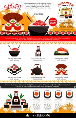Sushi bar and Japanese restaurant poster or menu template. Vector design of noodle or seafood rice in bowl and chopsticks, soy sauce and sushi rolls o