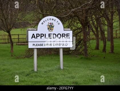 Appledore, North Devon, Name Sign - Stock Photo