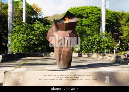 War memorial in a park, Honolulu, Oahu, Hawaii Islands, USA Stock Photo