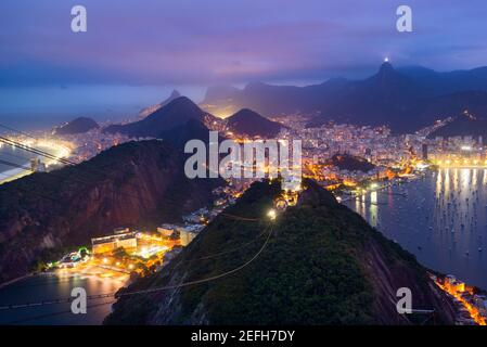 View of Rio de Janeiro city from the Sugarloaf Mountain - Brazil, South America - Stock Photo