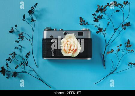 blank for decorating postcards or a gift certificate for a photographer. Old camera on a pink background with gray dried flowers and space for text