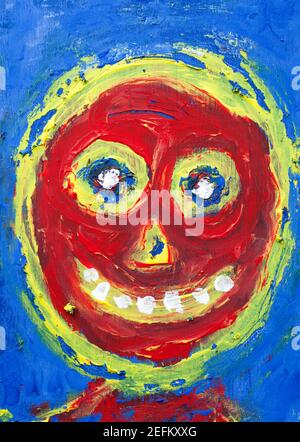 Outsider Art Painting of Happy Face