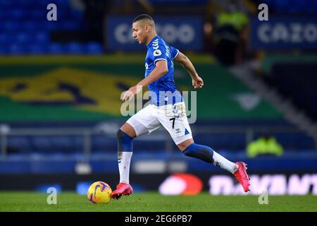 Liverpool, United Kingdom, 17th February 2021. Everton's Richarlison. Credit: Anthony Devlin/Alamy Live News