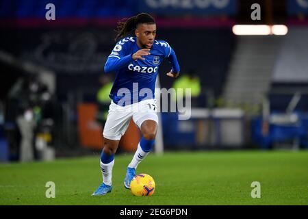 Liverpool, United Kingdom, 17th February 2021. Everton's Alex Iwobi. Credit: Anthony Devlin/Alamy Live News