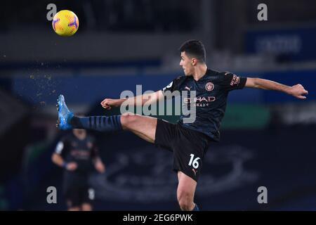 Liverpool, United Kingdom, 17th February 2021. Manchester City's Rodri. Credit: Anthony Devlin/Alamy Live News