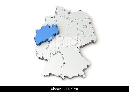 Map of Germany showing North Rhine Westphalia region. 3D Rendering