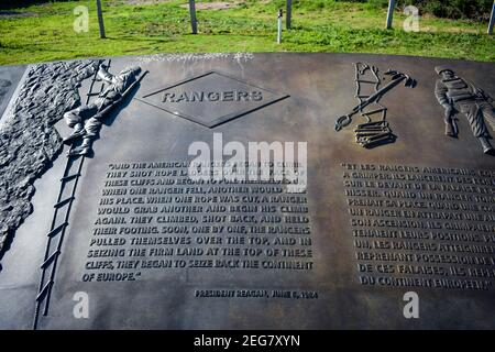 NORMANDY, FRANCE - July 4, 2017: Commemorative plaque to the U.S. Rangers, at Pointe du Hoc from the Battle of the Normandy Landings during World War - Stock Photo
