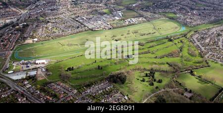 aerial view of Leicester Racecourse and Leicester Golf Centre - Stock Photo