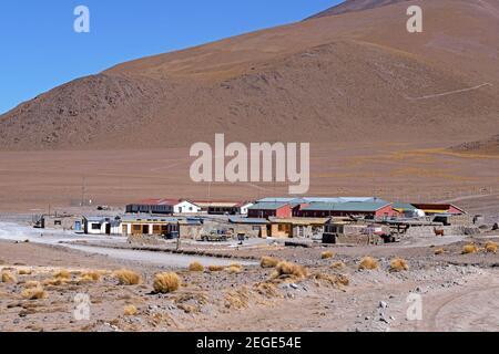 Small settlement at Laguna Colorada / Red Lagoon, salt lake in the Eduardo Avaroa Andean Fauna National Reserve in the Andean mountains, Bolivia