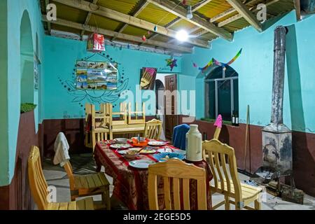 Interior of refuge / hostel at Laguna Colorada / Red Lagoon, salt lake in the Eduardo Avaroa Andean Fauna National Reserve, Bolivia