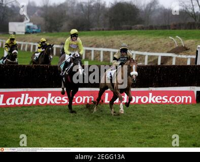 Horse Racing - Leicester Races - Leicester Racecourse - 11/1/05  Hirvine ridden by Richard Johnson leads and goes on to win the 3.00 meeting while Eric's Charm ridden by Tony McCoy comes in second   Mandatory Credit: Action Images / Michael Regan