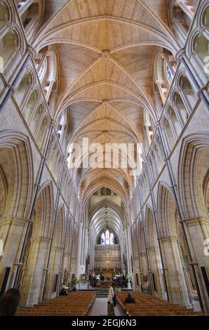 LONDON, ENGLAND - MAY 26: interior of Southwark Cathedral or Collegiate Church of St Saviour and St Mary Overie in Southwark on the south bank of the