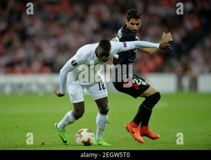 Soccer Football - Europa League - Athletic Bilbao vs Ostersunds FK - San Mames, Bilbao, Spain - November 2, 2017   Ostersunds FK's Ken Sema in action with Athletic Bilbao's Raul Garcia    REUTERS/Vincent West - Stock Photo
