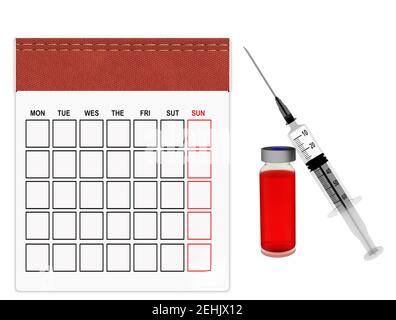 vaccine vaccination day covid 19 flu coroanavirus covid-19 calendar empy for month red leather on the top  background - 3d rendering - Stock Photo