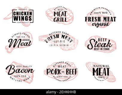 Meat food icons with hand drawn calligraphy lettering. Beef and pork steak, chicken leg and wings, bacon and ham sketches. Vector butcher shop label a - Stock Photo
