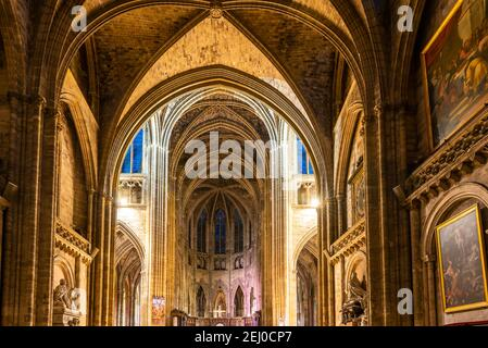 Interior of Saint Andrew Cathedral in Bordeaux, New Aquitaine, France