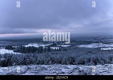 Beautiful winter shot of South Dublin viewed from Ticknock Forest National Park, Co. Dublin, Ireland. Unusual Irish winter 2021. Rare landscape views. - Stock Photo