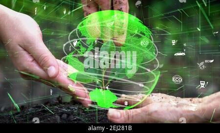 Future environmental conservation and sustainable ESG modernization development by using technology of renewable resources to reduce pollution and