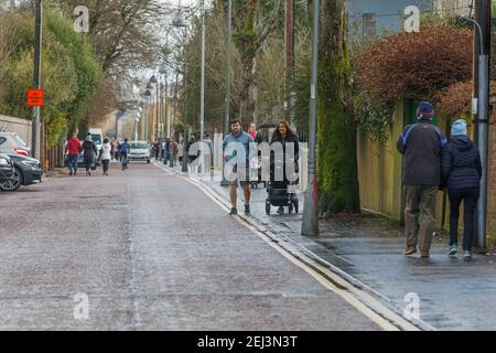 Cork, Ireland. 21st Feb, 2021. Many Flock to Fitzgerald's Park Today to Enjoy Sun, Cork, Ireland. Many decided to take a trip down to Fitzgerald's Park today to take in the crisp winter sunshine while getting a bit of exercise in. Credit: Damian Coleman/Alamy Live News - Stock Photo