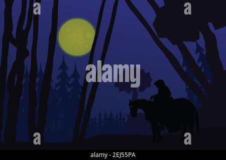 Flat illustration of a black rider in the moonlight riding through a forest bringing evil