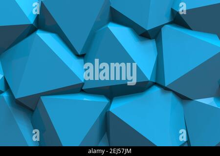 3d render illustration of plastic blue geometrical shapes backdrop texture.