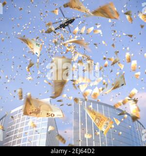 Helicopter money concept: a synonym for boosting consumer spending by giving money directly to the public. A helicopter throwing loads of single 50 Eu