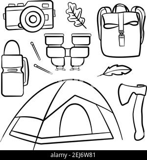 Set of doodle forest camping design elements. Hand drawn hiking and camping doodles perfect for summer camp flyers and posters - Stock Photo