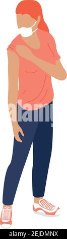 woman wearing medical mask character vector illustration design Stock Photo