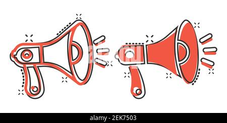 Megaphone speaker icon in comic style. Bullhorn sign cartoon vector illustration on white isolated background. Scream announcement splash effect busin - Stock Photo