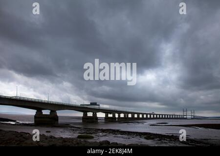 Stormy sky over The Prince of Wales Bridge from the England river bank Stock Photo