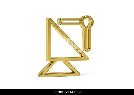 Golden 3d satellite communication icon isolated on white background - 3D render