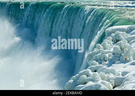 Niagara Falls Ontario Canada. Niagara Falls in winter view of  the Canadian Horseshoe waterfall.
