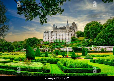 Dunrobin Castle. family seat of the Earl of Sutherland with 189 rooms  is the largest  great house in the Northern Highlands, Golspie,  Scotland