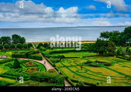 Gardens at Dunrobin Castle,family seat of the Earl of Sutherland and laid out by the architect Sir Charles Barry in 1850.Golspie Scotland