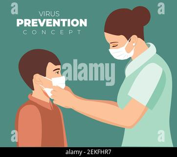 Mother putting a face mask on her child boy for protection against coronavirus infection. Little boy and mom in medical mask. Child wearing face mask