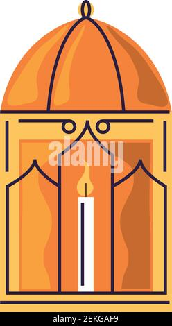 decorative lamp with candle light vector illustration cartoon isolated style - Stock Photo