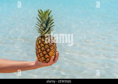Man holds pineapple on sea background. Holiday vacation and travel concept.