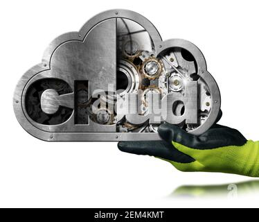 Hand with green and black protective work glove showing a metallic Cloud Computing Symbol with cogs inside and isolated on white background with refle - Stock Photo