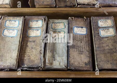 17th and 18th century archives on shelves at Hotel de Soubise - Archives Nationales, Marais, Paris, France