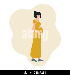 A young pregnant woman in a long dress on a walk, hugs her stomach. Vector illustration in a flat style, isolated on a white background, icon. - Stock Photo