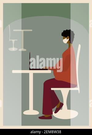 Pregnant woman sitting in cafe in protective mask and using laptop. Freelance work concept. Side view. Vector illustration